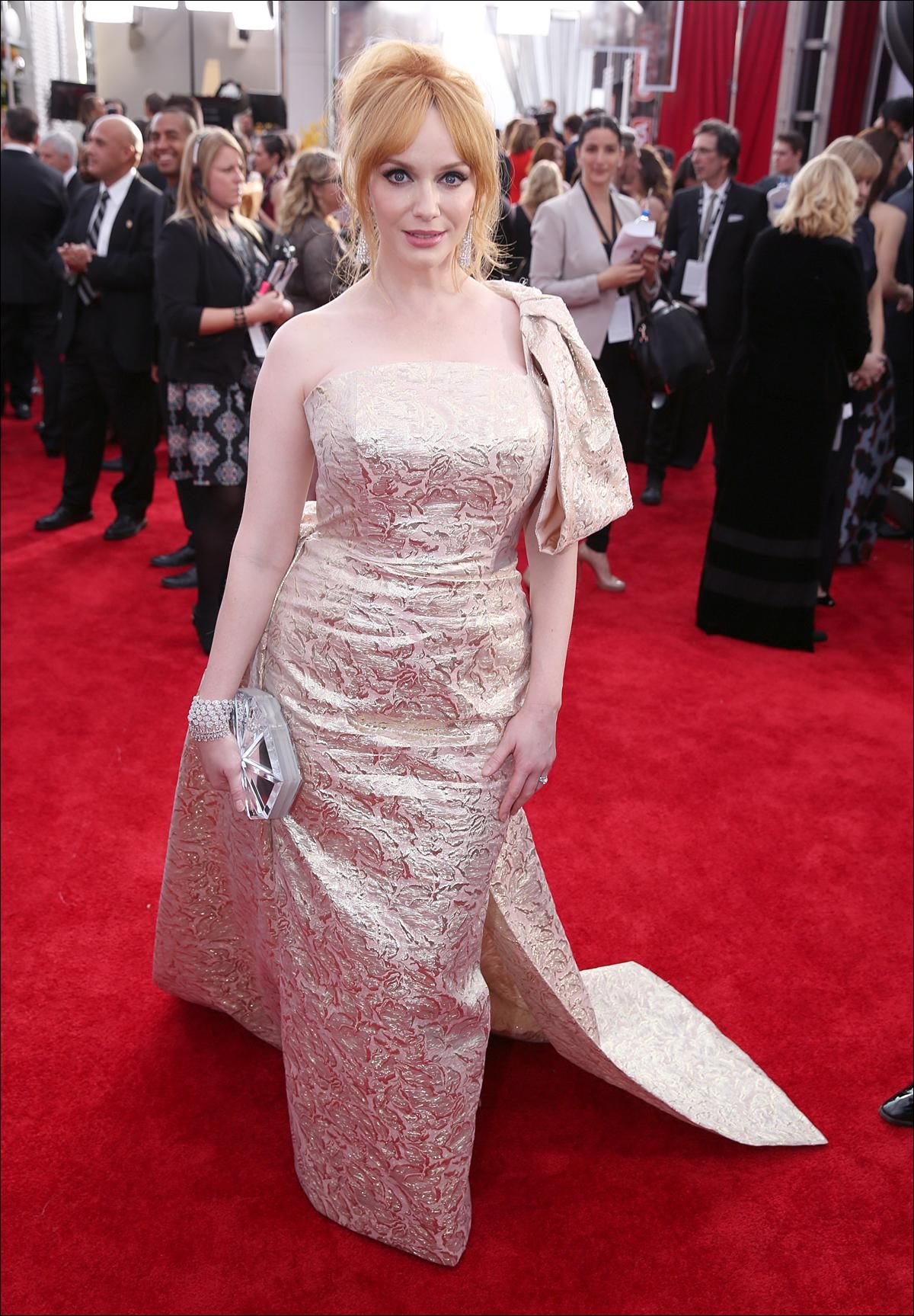 Christina Hendricks arrives at the 22nd annual Screen Actors Guild Awards at the Shrine Auditorium & Expo Hall on Saturday, Jan. 30, 2016, in Los Angeles. (Photo by Matt Sayles/Invision/AP)
