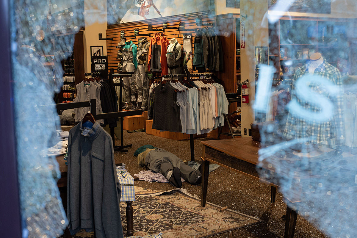 BELLEVUE, WA - MAY 31: A mannequin lies inside of a ransacked store after it was looted on May 31, 2020 in Bellevue, Washington. Protests due to the recent death of George Floyd took place in Bellevue in addition to Seattle, with looting in Bellevue and at least one burned automobile there. (Photo by David Ryder/Getty Images)
