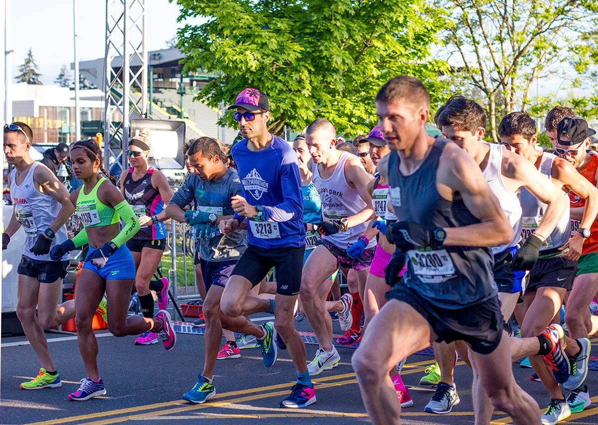 The 11th Annual Eugene Marathon was won by Steve DeKoker with a time of 02:29:46 in the overall division and by Hiruni Wijayaratne in the women's division with a time of 02:43:31. The Half Marathon was won by Eric Finan with a time of 01:06:11 and the first woman to finish the Half was Ashley Nichols with a time of 01:20:19. Rounding out the top five in the Full Marathon was Raul Arcos 02:30:40; Shaun Frandsen 02:31:50, Bashar Ibrahim 02:33:52, and Stephen Harris 02:34:45. In the women's division Hiruni Wijayaratne was followed by Yelena Nanaziashvili 02:44:11, Marisa Ryan 02:46:50, Heather Banks 02:49:47, and Karin Wimer 02:51:39. The Half Marathon top five included Yon Yilma 01:07:49, Erik Teig 01:07:52, Craig Hopkins 01:09:09, and Rio Reina 01:09:11. Photo by Stephanie Cusano