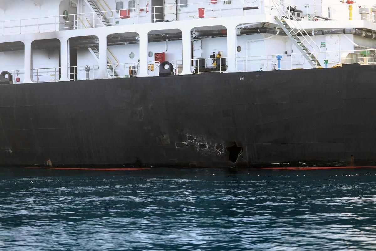 This image released by the U.S. Department of Defense on Monday, June 17, 2019, is a view of hull penetration/blast damage on the starboard side of the motor vessel M/T Kokuka Courageous, which the Navy says was sustained from a limpet mine attack while operating in the Gulf of Oman, on June 13th. (U.S. Department of Defense via AP)