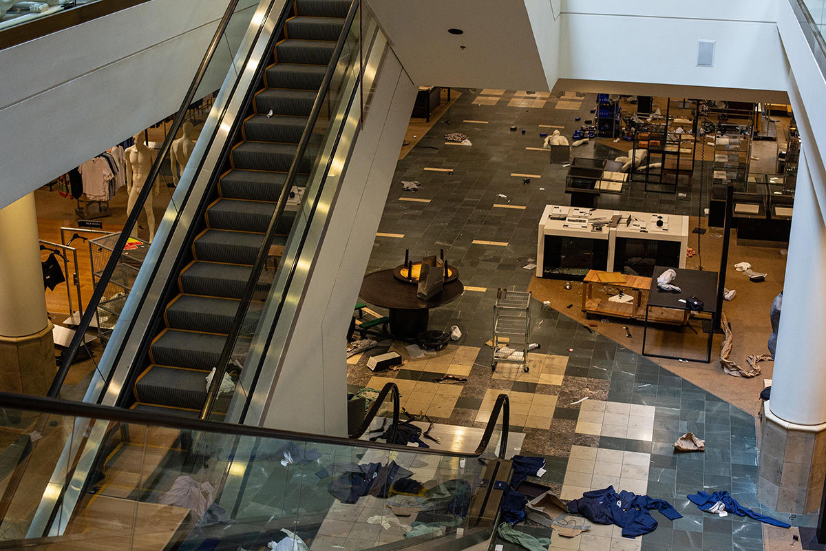 BELLEVUE, WA - MAY 31: The interior of a Nordstrom store in Bellevue Square Mall is seen after looting took place on May 31, 2020 in Bellevue, Washington. Protests due to the recent death of George Floyd took place in Bellevue in addition to Seattle, with looting in Bellevue and at least one burned automobile there. (Photo by David Ryder/Getty Images)