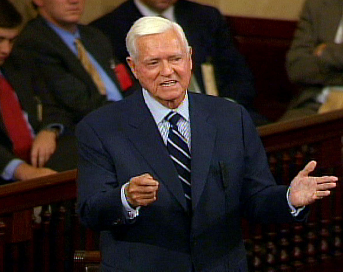 FILE - In this Nov. 16, 2004 file photo, Sen. Ernest ''Fritz'' Hollings, D-S.C., who is retiring in January, addresses the Senate  on Capitol Hill in Washington, in this image from video. (AP Photo/APTN, File)