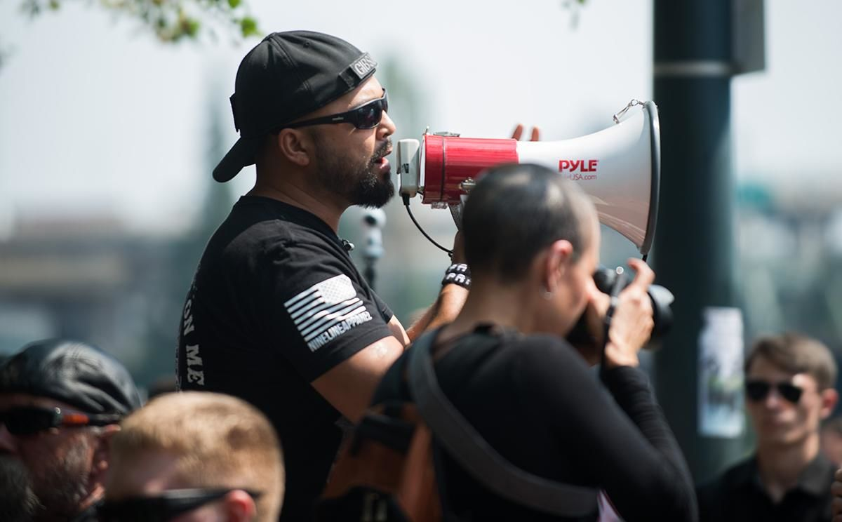 FILE - Photo of Patriot Prayer leader Joey Gibson at a rally in downtown Portland on Sunday, Aug. 6 (KATU News photo)