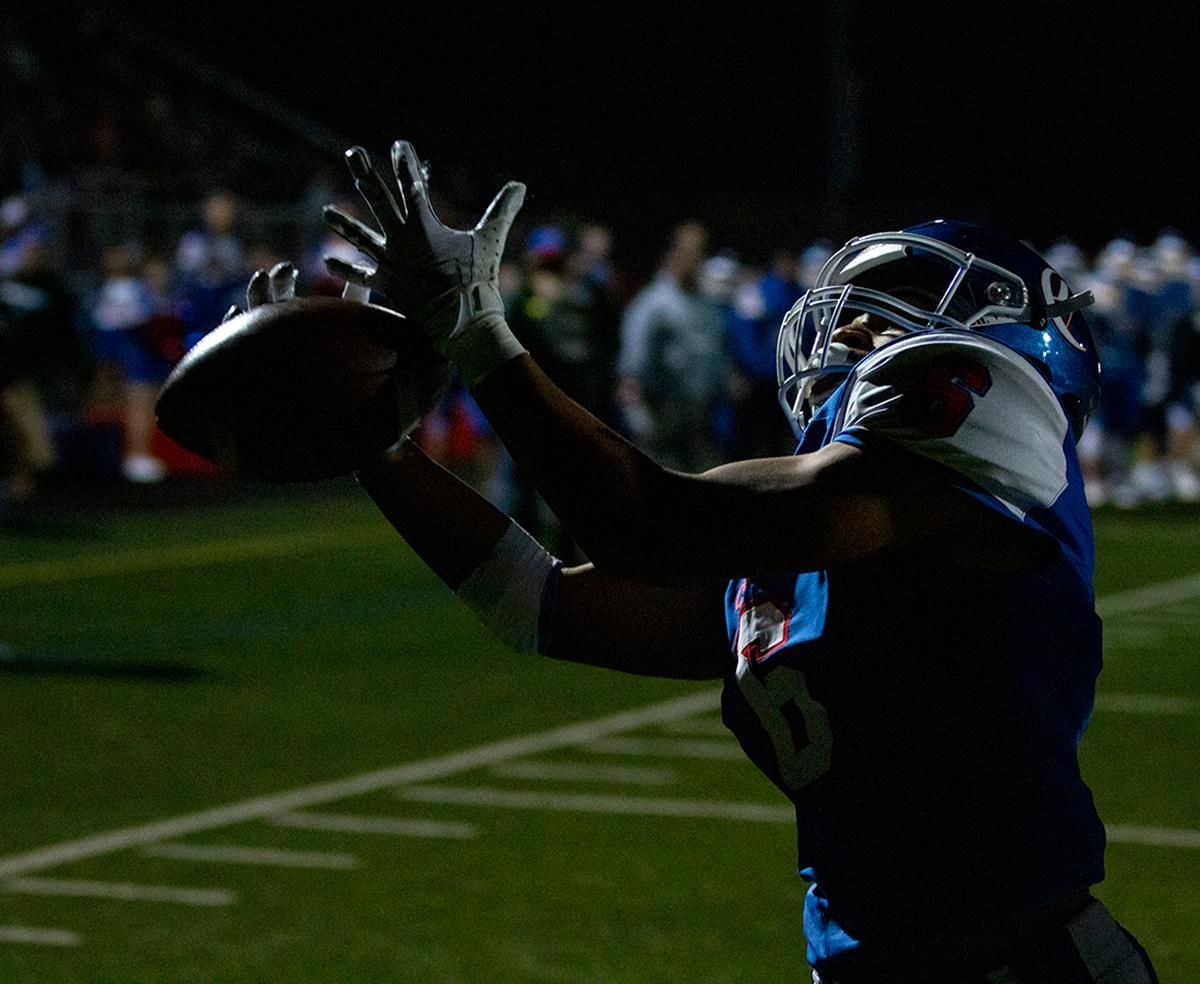 Churchill wide receiver Elijah Fields (#6) just misses a pass to him in the end zone. The Churchill Lancers dominated the Crater Comets 58 – 20 in front of a pact Homecoming crowd. With the win Churchill advances to the 5A district playoffs. Photo by Payton Bruni