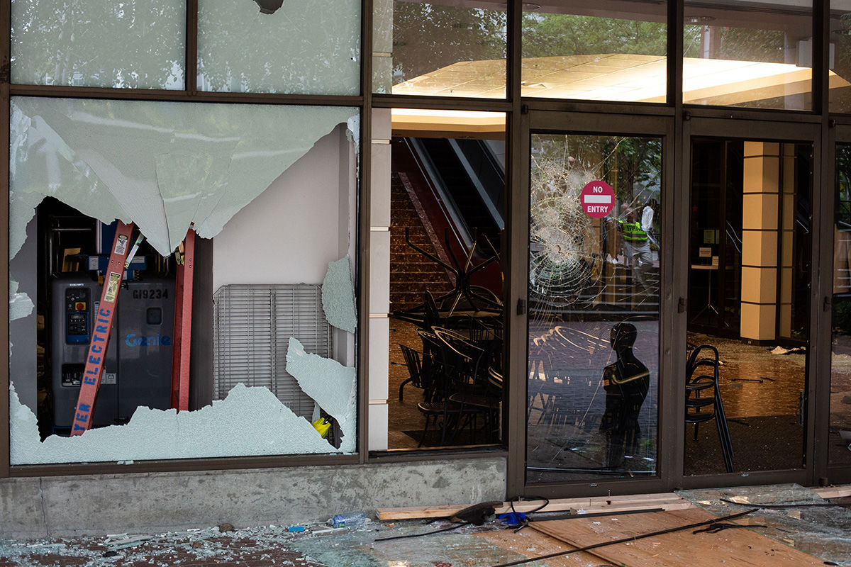 BELLEVUE, WA - MAY 31: An entrance to Bellevue Square Mall is seen after looting took place on May 31, 2020 in Bellevue, Washington. Protests due to the recent death of George Floyd took place in Bellevue in addition to Seattle, with looting in Bellevue and at least one burned automobile there. (Photo by David Ryder/Getty Images)
