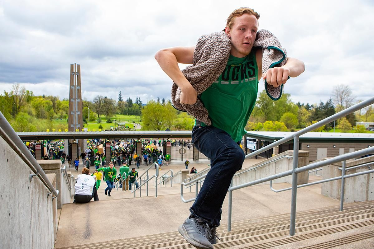 Oregon football fans took to Autzen Stadium in Eugene, Ore for the annual spring football game on April 20, 2019. [Ben Lonergan for KVAL.com] - KVAL.com
