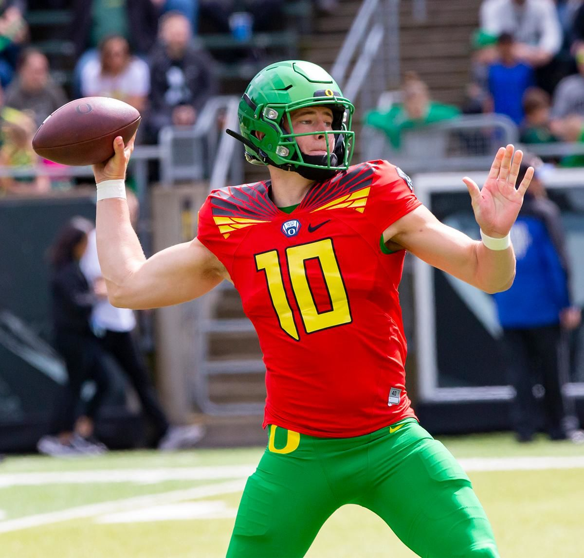 Mighty Oregon quarterback Justin Herbert (10) throws a pass during Saturday's game. More than 35,000 fans turned out for the University of Oregon's annual spring football game. Mighty Oregon defeated the Fighting Ducks 20 to 13 during the Saturday afternoon game at Autzen Stadium in Eugene, Ore. on April 20, 2019. [Ben Lonergan for KVAL.com] - KVAL.com