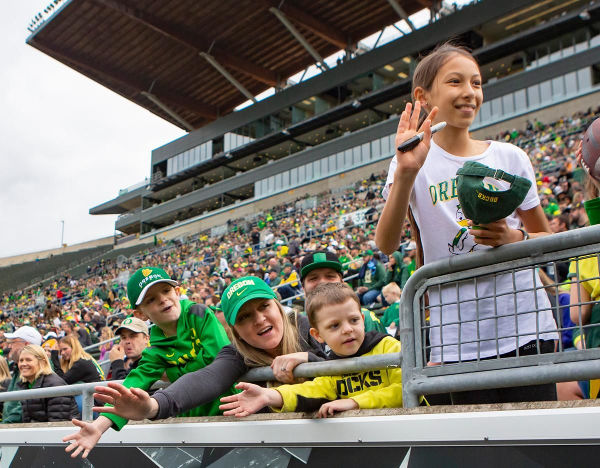 More than 35,000 fans turned out for the University of Oregon's annual spring football game. Mighty Oregon defeated the Fighting Ducks 20 to 13 during the Saturday afternoon game at Autzen Stadium in Eugene, Ore. on April 20, 2019. [Ben Lonergan for KVAL.com] - KVAL.com