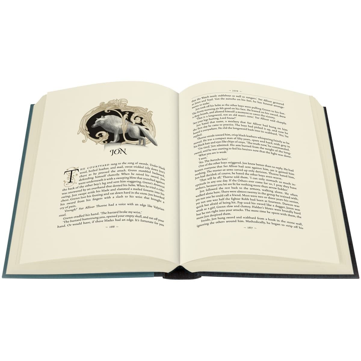 Award-winning illustrator Jonathan Burton's glorious colour illustrations take the reader deeper into the realms of Westeros than ever before. Lavish binding designs are blocked with striking images of wolves, stags and lions, against shimmering gold and silver landscapes. (Photo: Folio Society)<p></p>