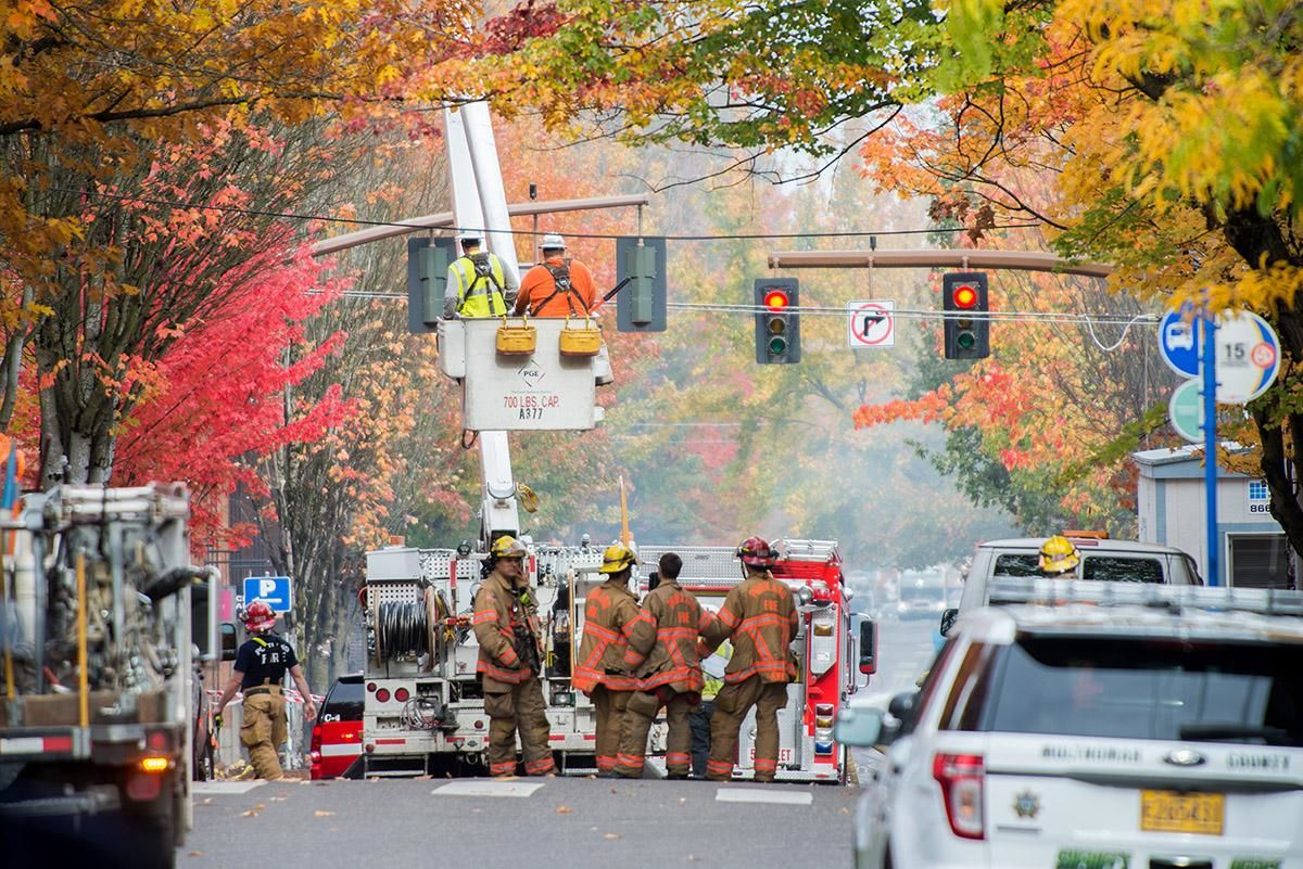 A gas leak caused explosions at the corner of NW 23rd and Glisan Street Wednesday morning, injuring at least 8 people - including three firefighters. (KATU News photo by Tristan Fortsch 10-19-2016)