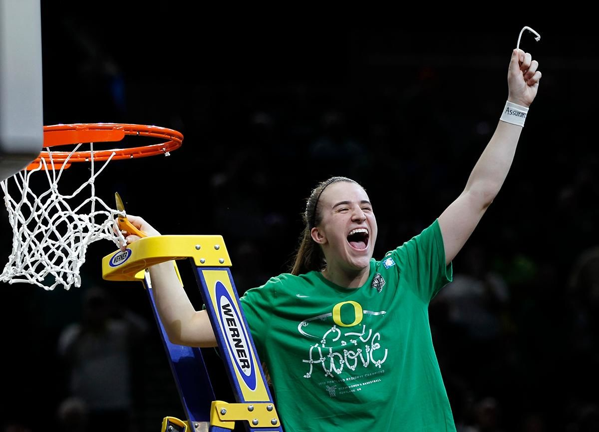 Oregon guard Sabrina Ionescu celebrates a regional final victory over Mississippi State in the NCAA women's college basketball tournament Sunday, March 31, 2019, in Portland, Ore. Oregon defeated Mississippi State 88-84. (AP Photo/Steve Dipaola)