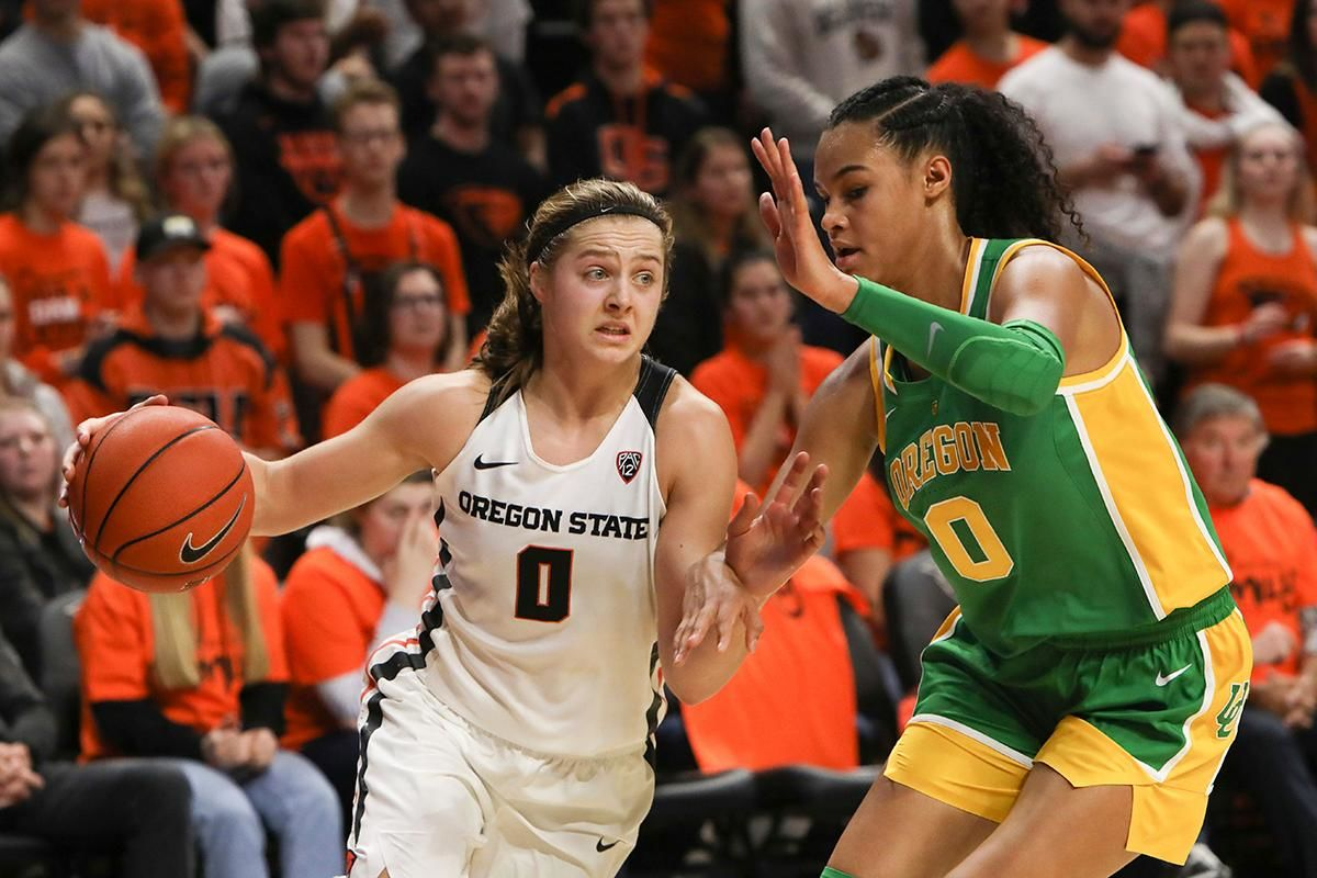 Oregon's Satou Sabally, right, defends against Oregon State's Mikayla Pivec, left, during the first half of an NCAA college basketball game in Corvallis, Ore., Sunday, Jan. 26, 2020. (AP Photo/Amanda Loman)