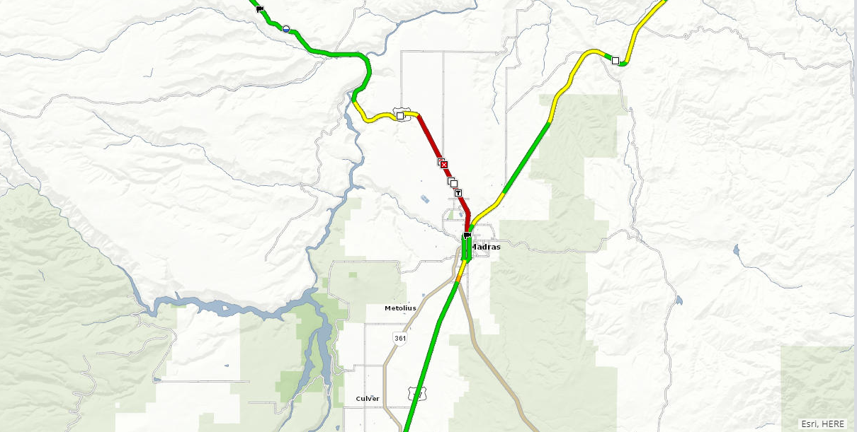 Oregon DOT reports multiple wrecks or reports of possible wrecks on the highway, just west of Madras. (ODOT TripCheck)