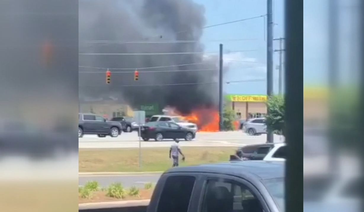 A passerby called in around 1 p.m. saying there was a vehicle on fire at the Neighborhood Walmart at 4250 Western Blvd. in Jacksonville. (Savannah Sandoval photo)