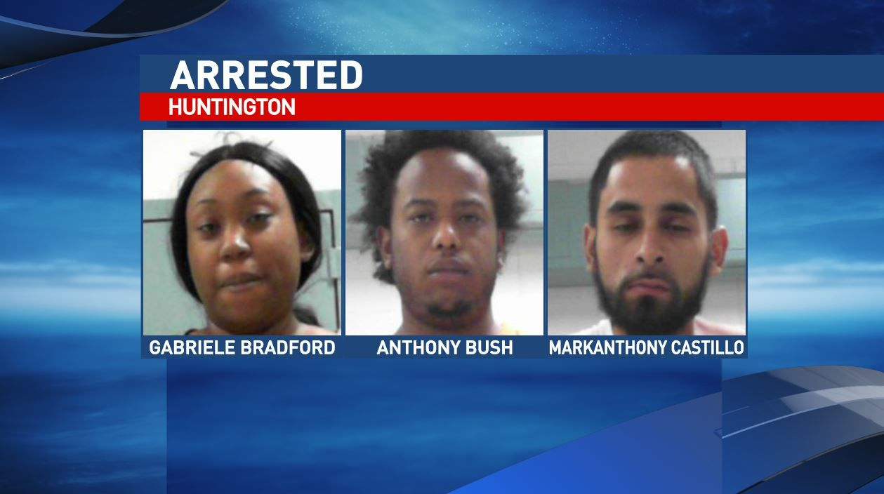 Anthony Deandre Bush, 26, Markanthony Goday Castillo, 30, and Gabriele Tonisha Bradford, 29, all of Houston TX, were arrested early Sunday morning, according to criminal complaints filed in Cabell County Magistrate Court. (West Virginia Regional Jail)