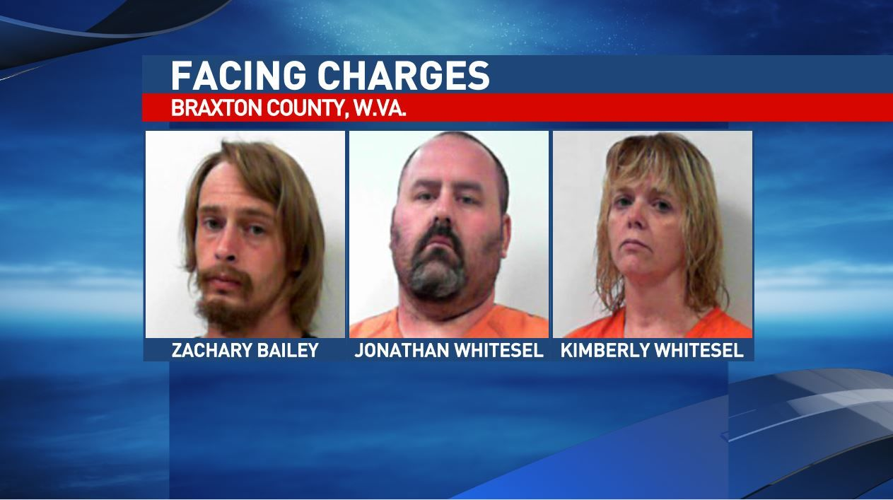 Zachary Bailey, Jonathan Whitesel and Kimberly Whitesel are three of five facing charges in Braxton County. (West Virginia Regional Jail)