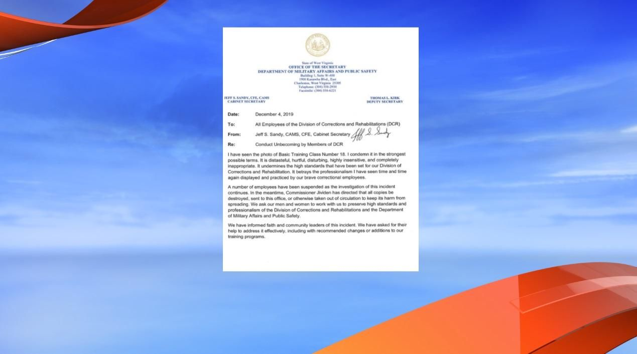 "A letter from DMAPS Cabinet Secretary Jeff Sandy describes a ""distasteful, hurtful, disturbing"" photo that has led to a number of employee suspensions. (Photo: WCHS/WVAH)"