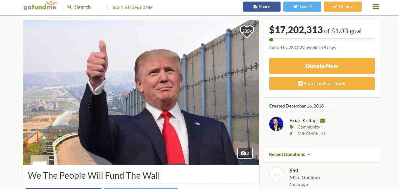 GoFundMe will refund over $20 million raised in a campaign to crowd-fund the construction of a wall on the U.S.-Mexico border, according to the campaign. (Photo: FILE)