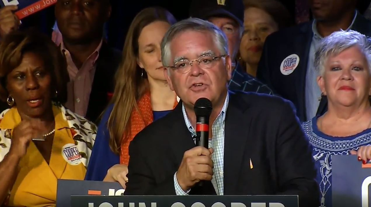 John Cooper makes his acceptance speech after winning the Nashville mayoral runoff election. (FOX 17 News)<p></p>