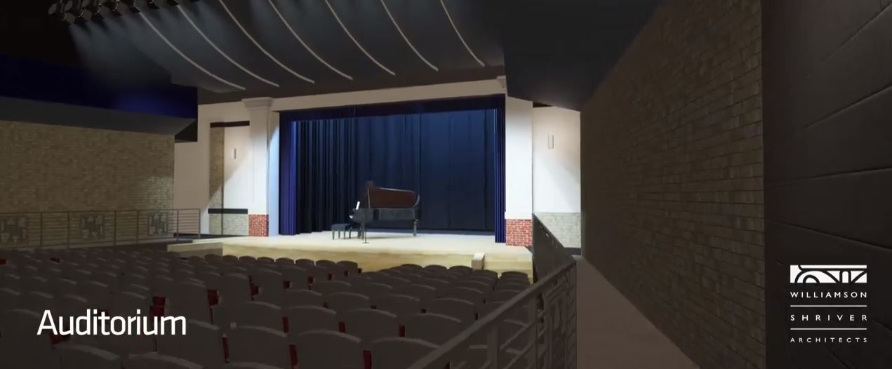 Screen capture from a video shows auditorium for the planned Herbert Hoover High School. (Williamson Shriver Architects)