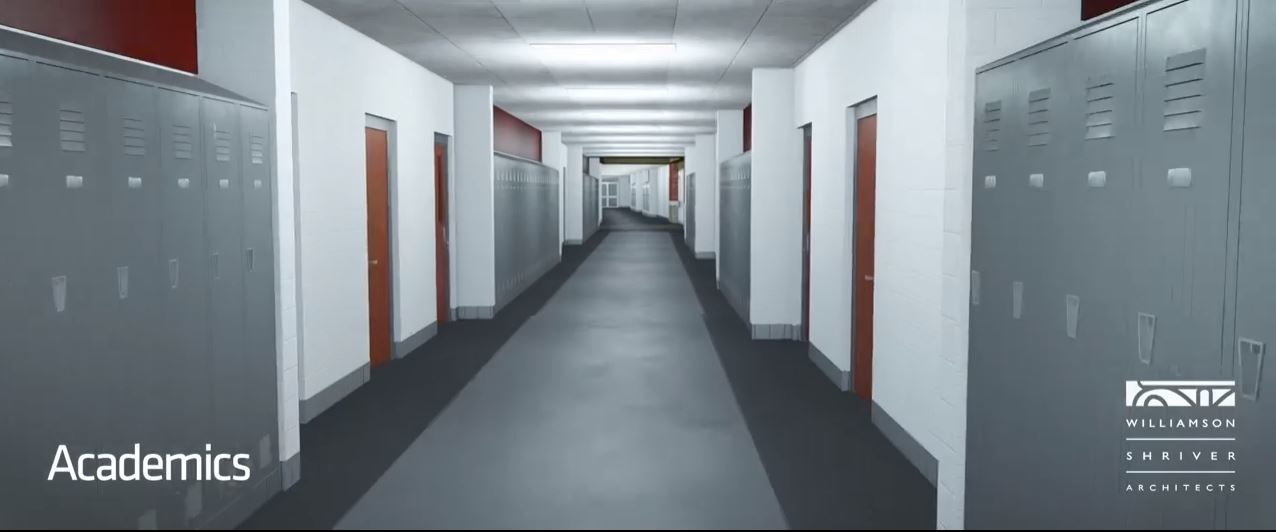 A view of a hallway is shown in this screen capture from a video that gives an inside look at the planned Herbert Hoover High School. (Williamson Shriver Architects)<p></p>