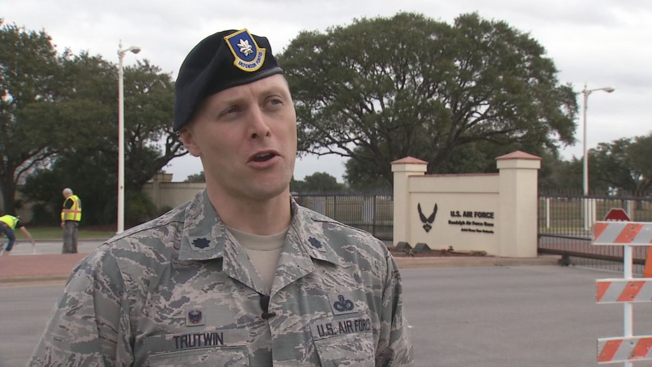 Lt. Col. Dennis Trutwin explained the gate construction work at area military bases. (SBG Photo)