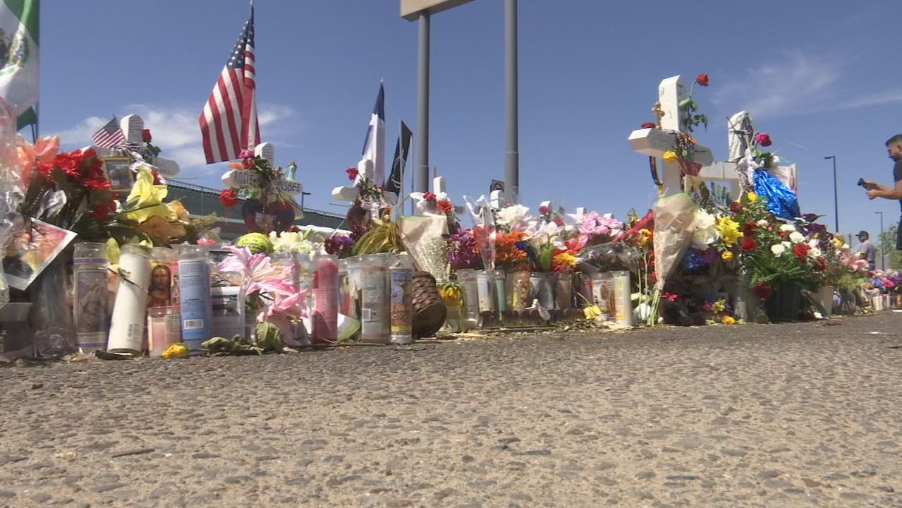 Flowers from Margie Reckard's funeral taken to victim's memorial site at Cielo Vista Walmart. (Credit: KFOX)<p></p>