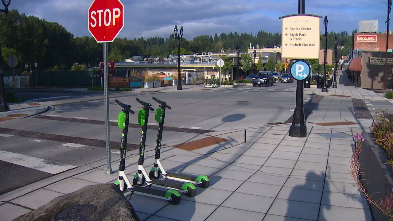 Electric scooters appear for rent in Bothell. (KOMO Photo)