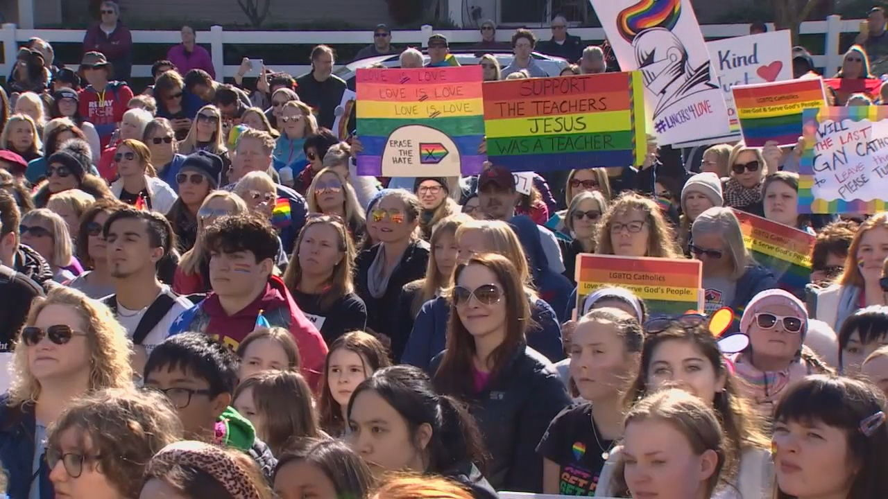 Some students at Kennedy Catholic High School say they are focusing on their next steps - just one day after an hours-long sit-in and a rally were held to show support for two teachers. (Photo: KOMO News)