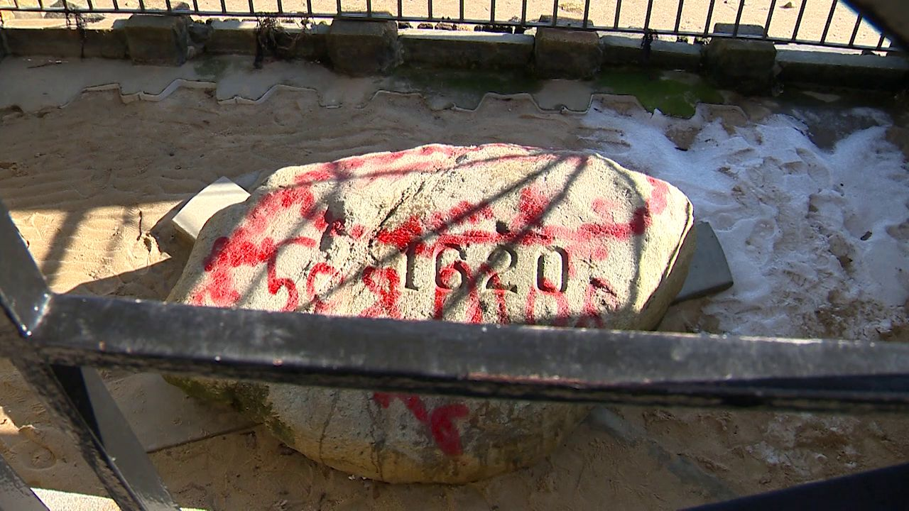 Red spray paint defaces Plymouth Rock, Monday, Feb. 17, 2020. (WCVB-TV)