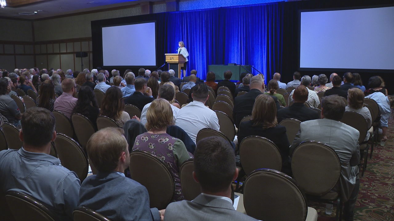 "Thursday afternoon at its annual meeting, the Buncombe County Tourism Development Authority (BCTDA) unveiled the new slogan, ""Let your spirit run free."" (Photo credit: WLOS staff)"