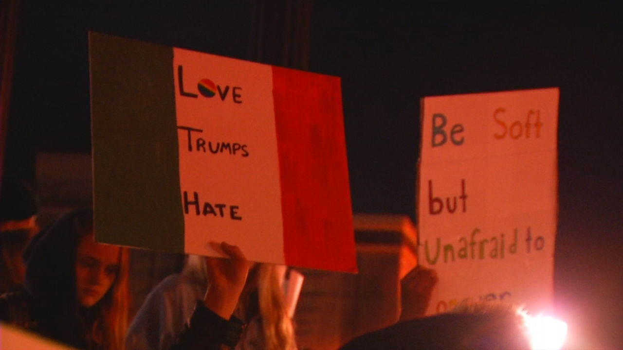 (FILE) People unhappy with the election of Donald Trump as the next president have taken their protests to the streets.  Some are even pressuring his party's electors in the electoral college to vote against Trump. (Photo credit: WLOS staff)