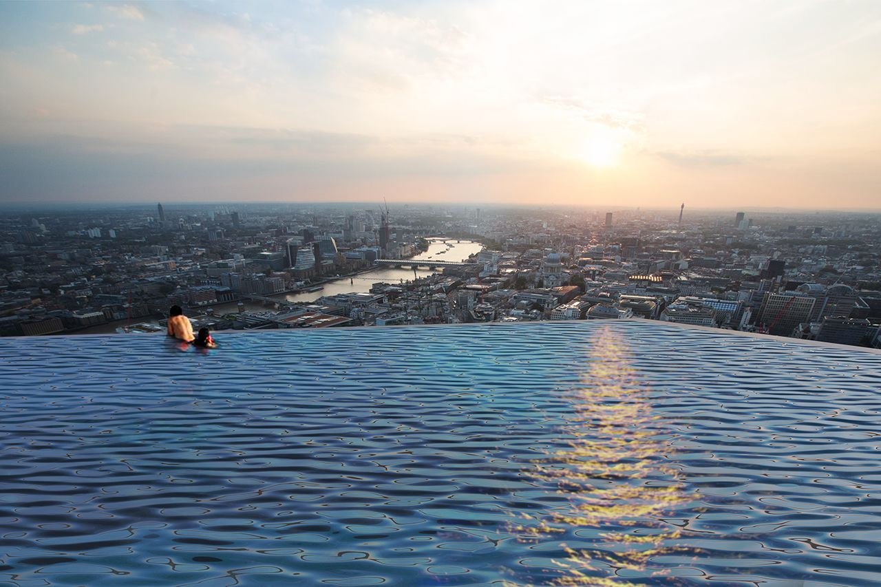 Visitors will be able to relax and take a death-defying dip 200 meters (about 656 feet) above England's capital.{ }(Compass Pools)