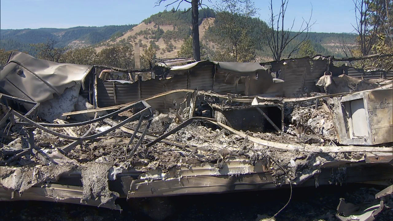 The destruction by the Mosier Creek Fire in the Columbia River Gorge was clear Thursday, Aug. 13, 2020. The fire had burned 800 acres and forced 900 people to evacuate. (KATU)