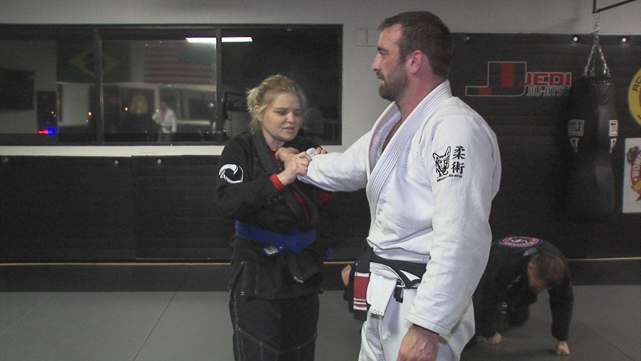Marana Vrandenburg was diagnosed with Type 1 diabetes as a child. She lost her sight in 2005 and started training in Brazilian Jiu-Jitsu four years ago to learn self-defense. (KTUL photo)