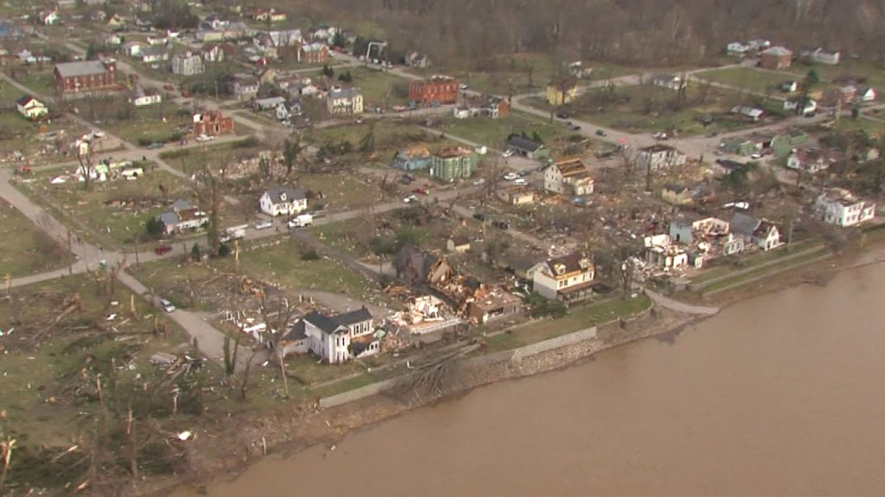 Moscow, Ohio in the wake of a tornado on March 2, 2012