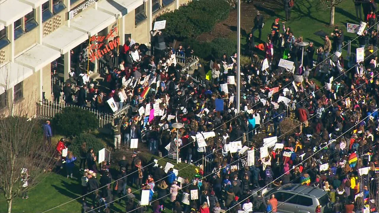 Kennedy Catholic HS students, parents protest teacher resignations (KOMO News){ }