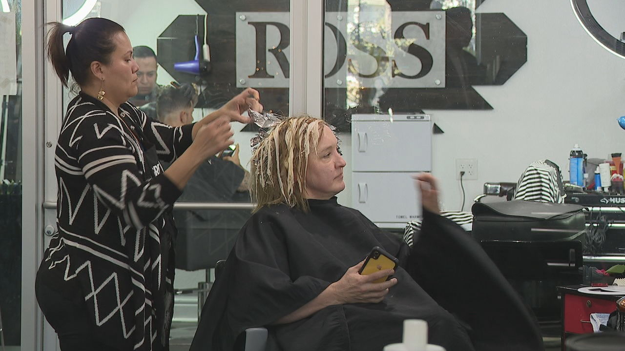 Christine Trevino gets her hair colored at Ross Hair Salon on Friday. (SBG photo)