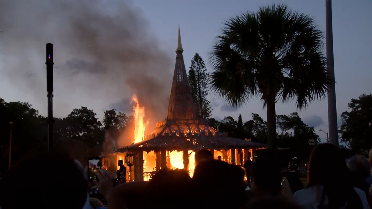 The Temple of Time in Coral Springs, built as a temporary place of mourning after the Marjory Stoneman Douglas school massacre, burned Sunday night in a ceremonial fire meant to transform darkness into light. (WPEC)