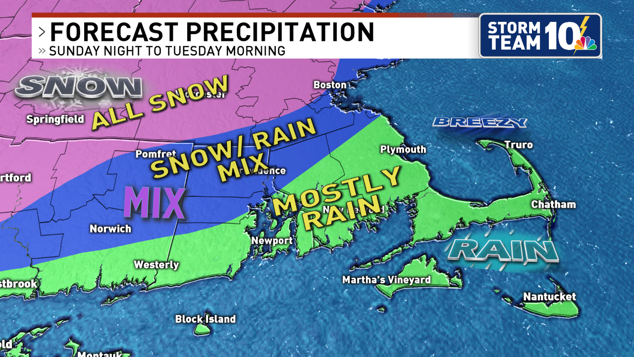 North of RI will remain snow, coastal communities receive the most rain