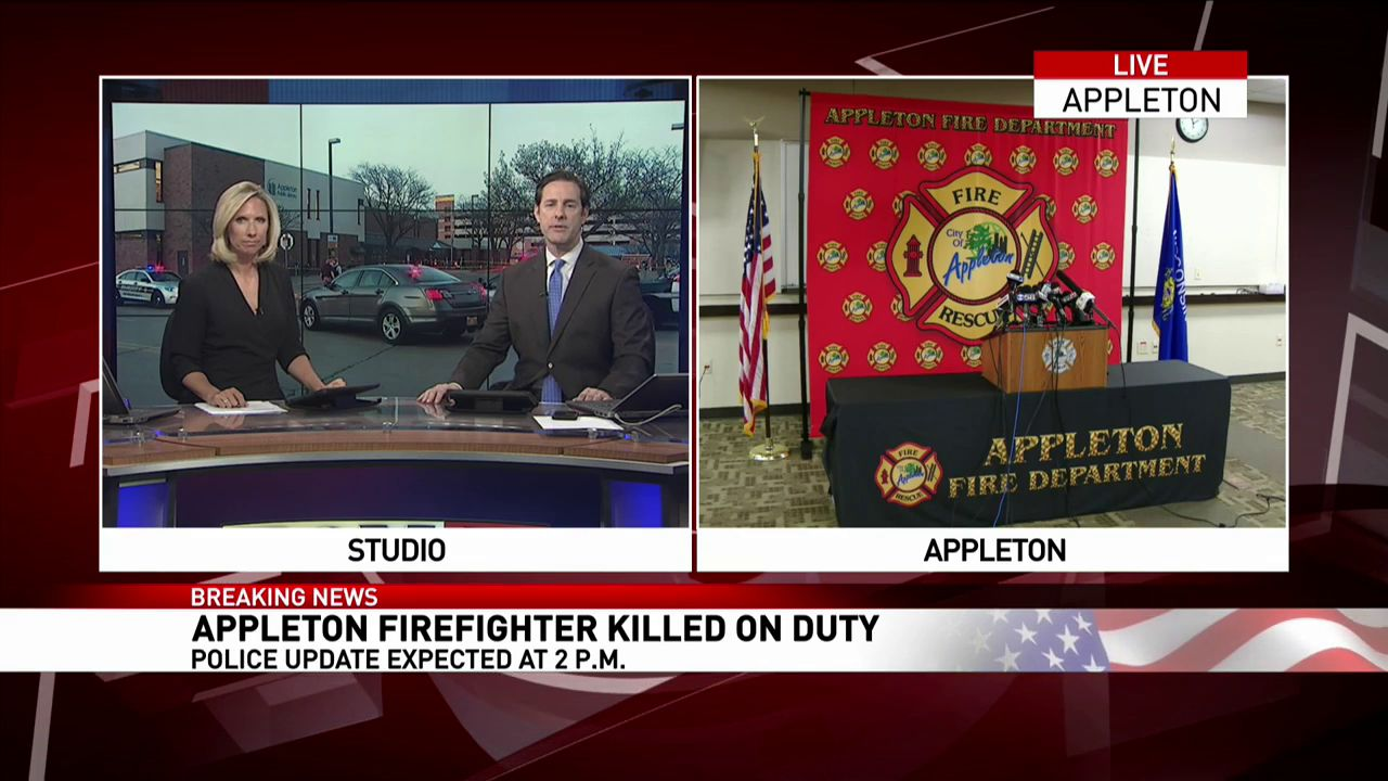 Appleton officials release more details surrounding a shooting in Appleton that killed a firefighter and injured a woman and Appleton police officer, May 16, 2019. (WLUK)<p></p>Thumbnail