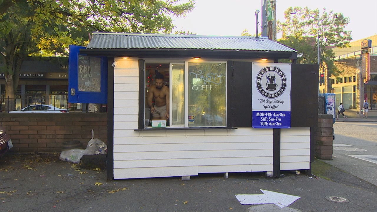 The shirtless guys of Dreamboyz Espresso have taken over a shack on Broadway in the city's Capitol Hill neighborhood where a female bikini barista stand used to be. (KOMO Photo)