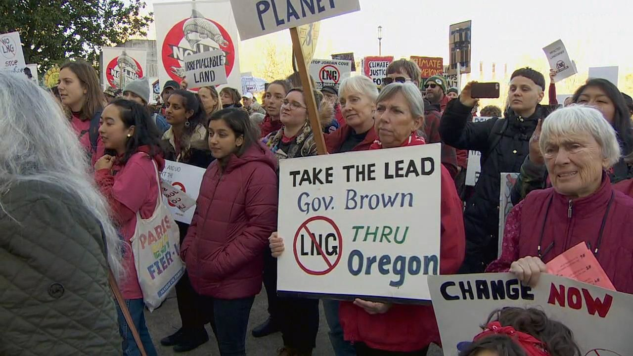 Opponents of a liquefied natural gas pipeline through Oregon protest outside the Capitol in Salem, Oregon Thursday, Nov. 21, 2019. (KATU Photo)