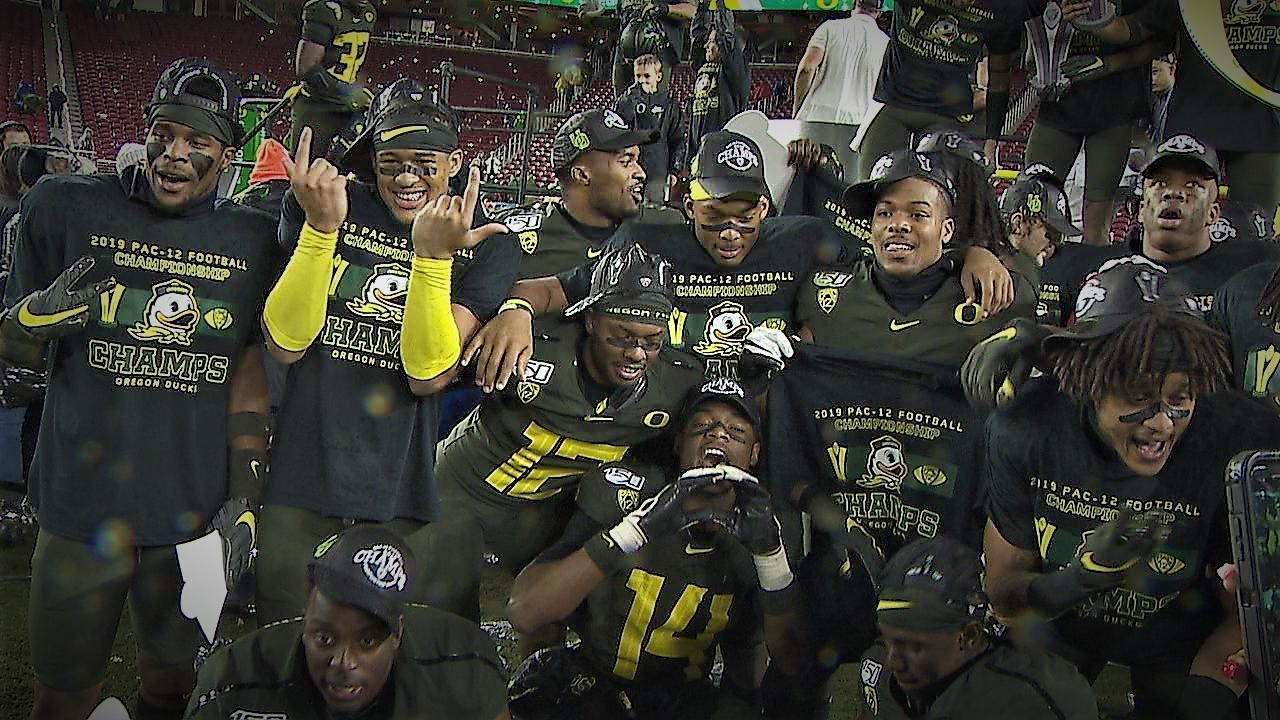 The Oregon Ducks defeated the Utah Utes in the Pac-12 Championship on Dec. 6, 2019. Photo by Brian Warner