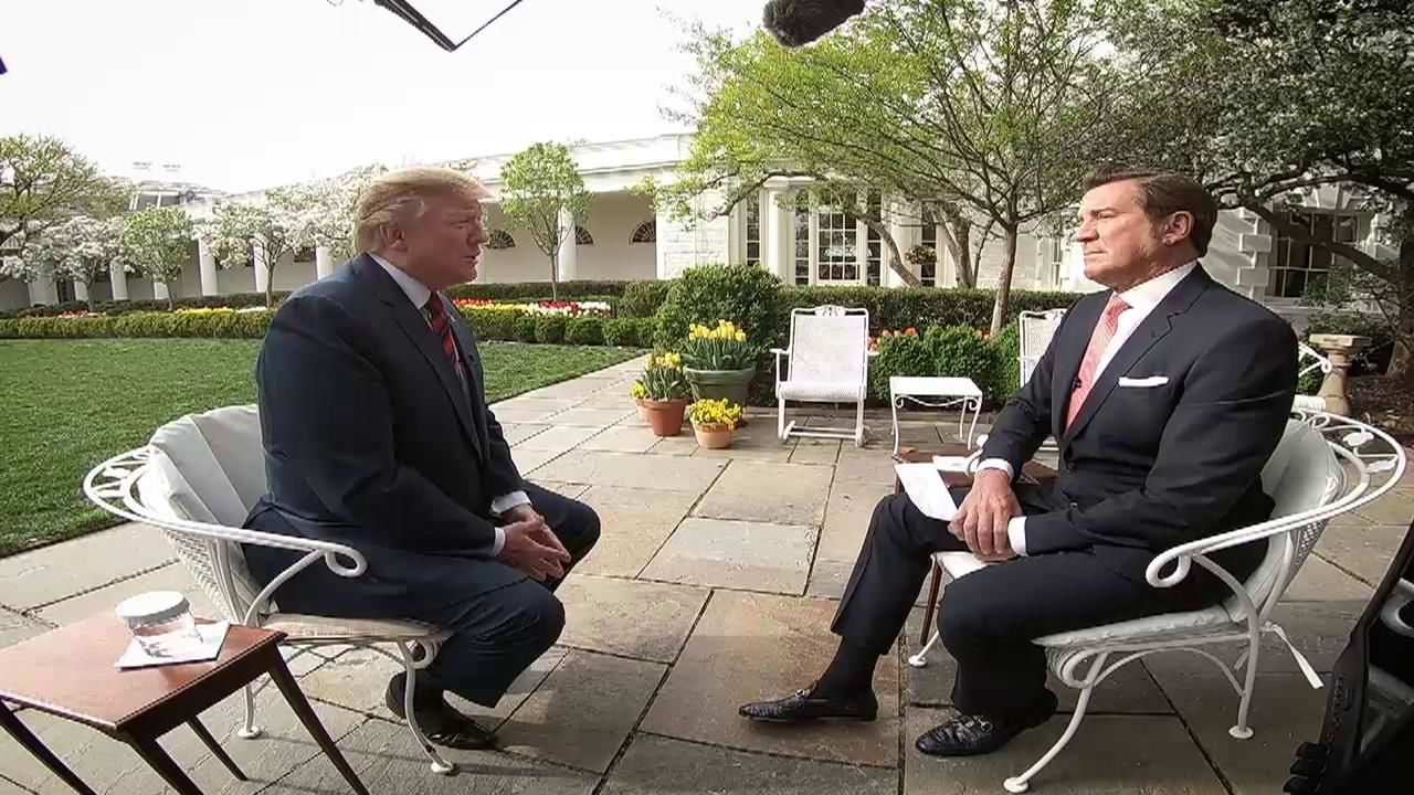 President Donald Trump speaks to 'America This Week' host Eric Bolling at the White House on Apr. 11, 2019. (SBG)