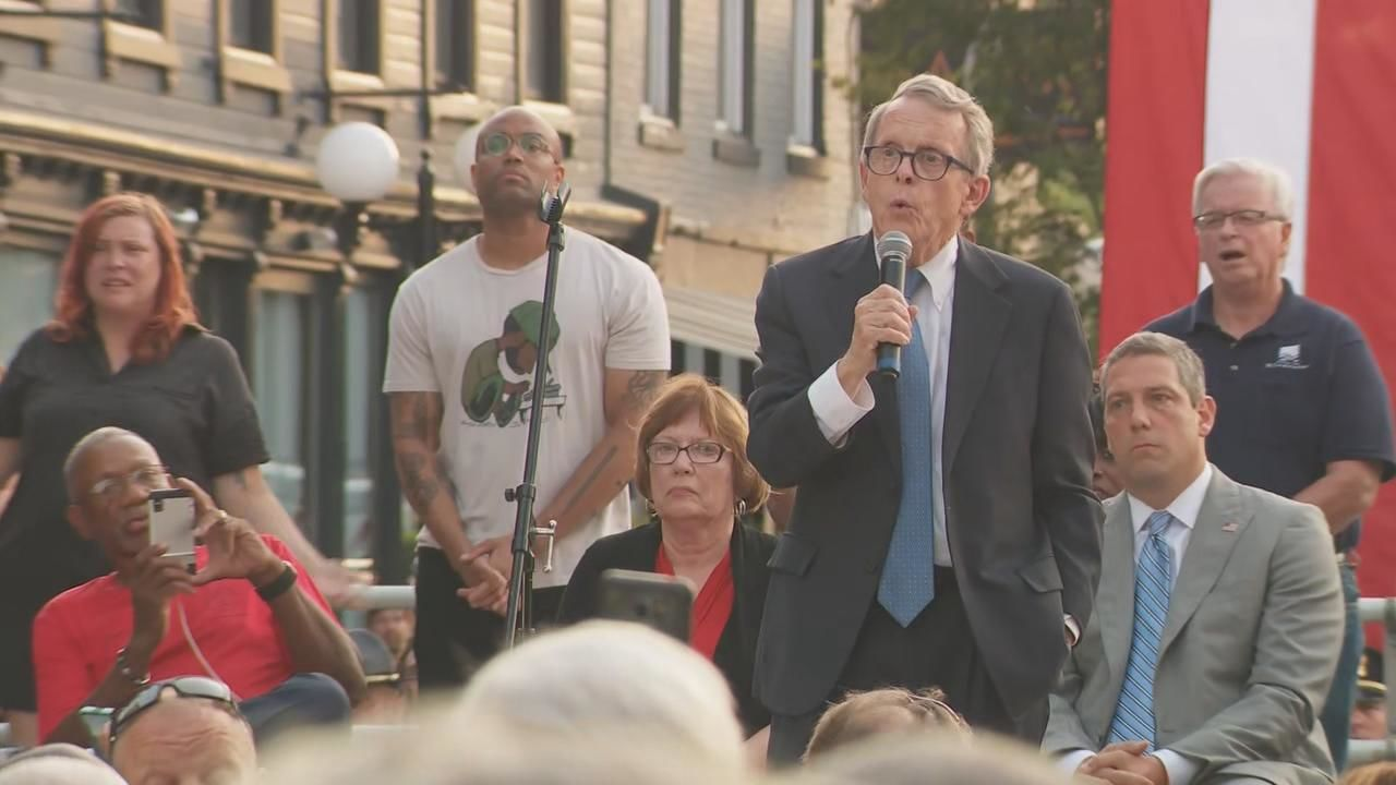 Ohio Gov. Mike DeWine (R) speaking at a vigil following the Dayton mass shooting that left nine people dead Sunday Aug. 4, 2019. (WSYX/WTTE)