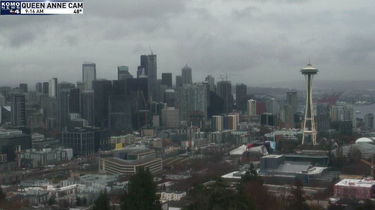 A rainy morning in Seattle on Nov. 19, 2019 as seen from KOMO's Queen Anne Tower Camera
