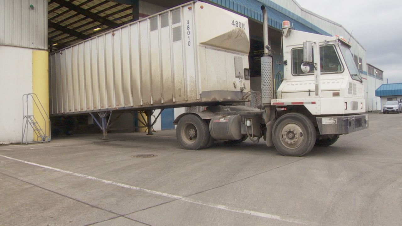 On most days, 50 to 60 trucks - each stuffed with 33 to 34 tons of garbage - head to Metro's landfill in Arlington, 135 miles east of Portland. (KATU)