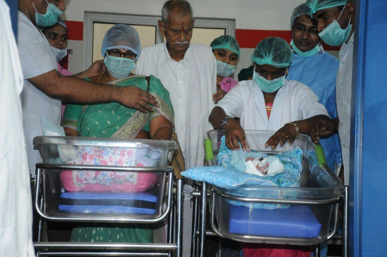 A 73-year-old woman gave birth to twin girls in the southern state of Andhra Pradesh in India on Thursday. Photo credit:{ }Ahalya IVF & Nursing Home{ }