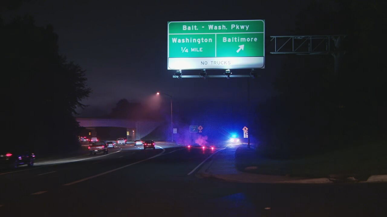 A section of the Baltimore Washington Parkway is closed Friday morning due to three separate crashes. (Image: ABC7)